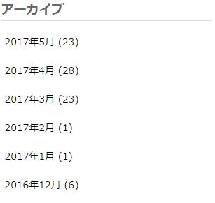 アーカイブの記事数が表示される