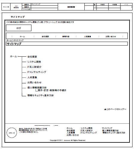 web制作の画面定義書