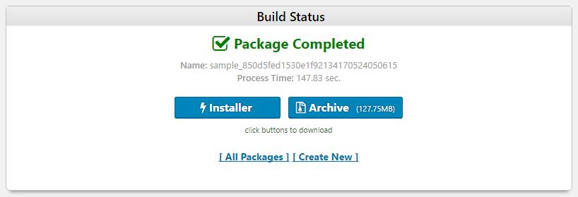 インストーラーファイルとアーカイブファイルが完成