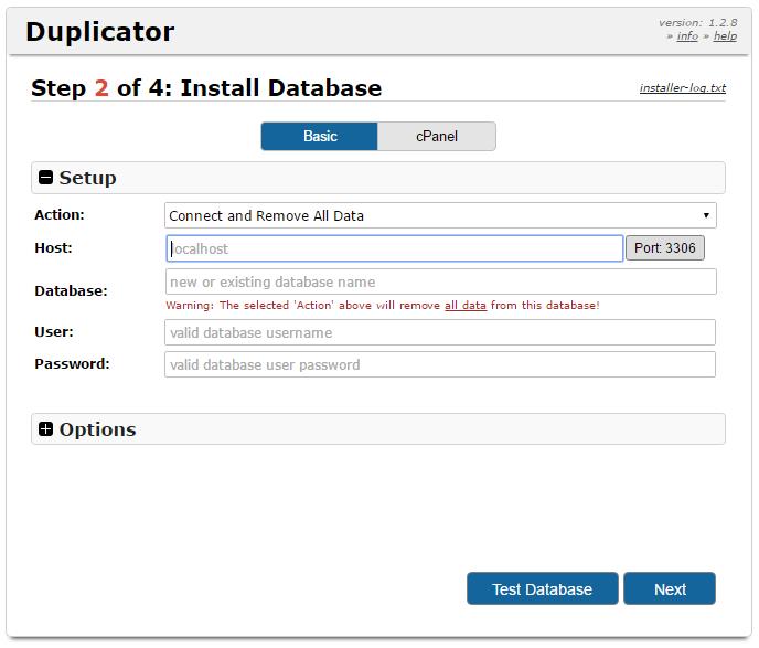データベースの設定を入力