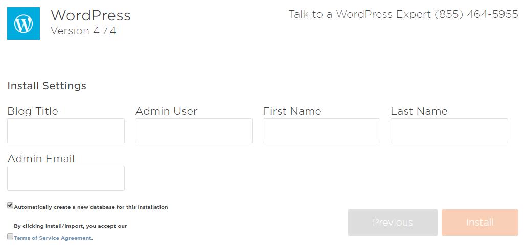 WordPress のインストールに必要な項目を記入