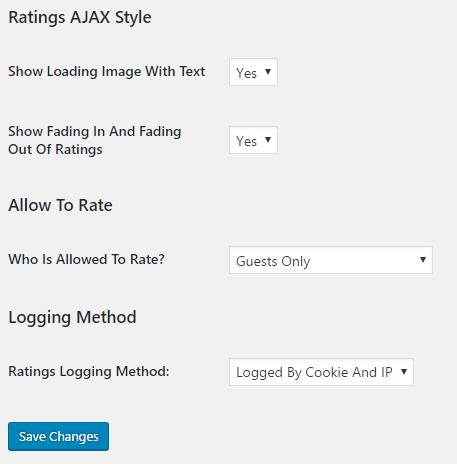 Post Ratings Optionsの評価スタイル