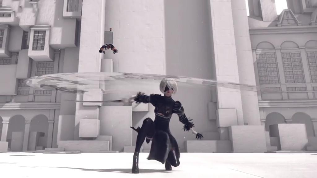 NieR:Automataの刀による戦闘シーン