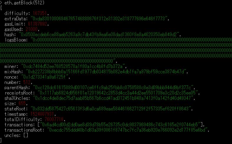 送金に関するブロック情報の確認