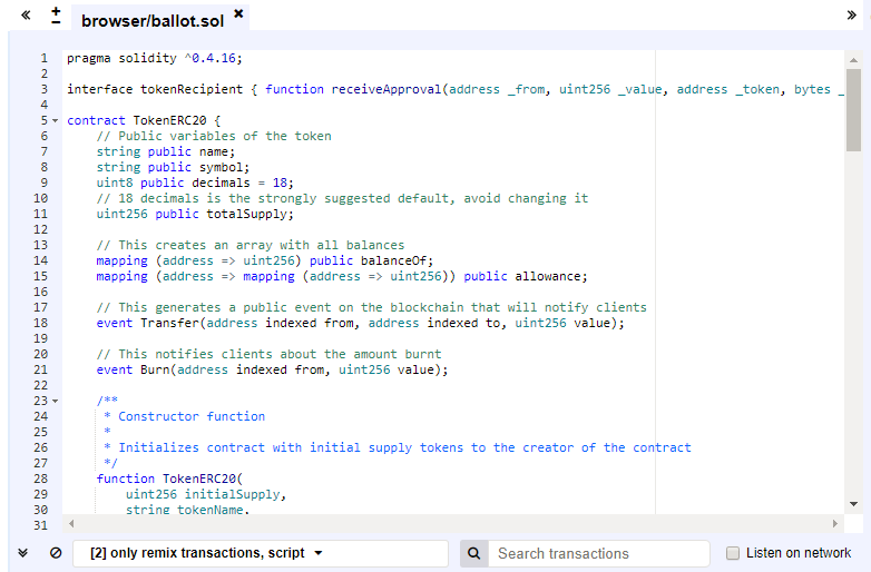 Ethereumのカスタムトークン作成コードを