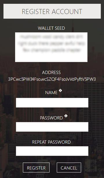 アカウント登録画面で復元フレーズやパスワードを設定